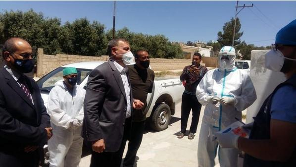Jordanian health minister Saad Jaber pictured earlier this month visiting the scene of the Covid-19 outbreak in Mafraq