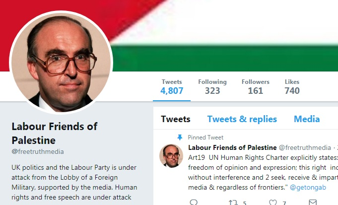 The Twitter account's header has a photo of the late Labour leader, John Smith