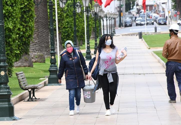 Face masks are compulsory when outdoors in Morocco. Photo: Xinhua